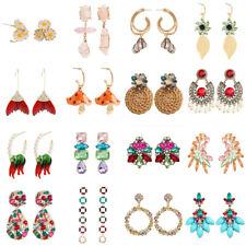Women Multi-Color Flower Crystal Alloy Ear Stud Earrings Dangle Drop Statement