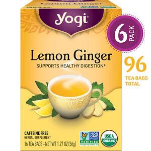 Yogi Tea - Lemon Ginger - Supports Healthy Digestion - 6 Pack, 96 Tea Bags Total