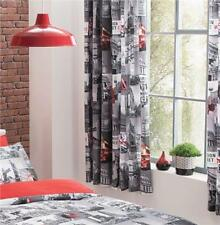 PAIR OF CURTAINS 66 x 72 INCH PENCIL PLEAT TAPE TOP CURTAINS LONDON CITY DESIGN