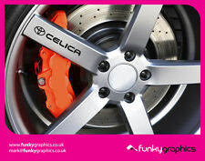 TOYOTA CELICA LOGO ALLOY WHEEL DECALS STICKERS GRAPHICS x5 IN BLACK VINYL