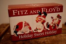 Fitz and Floyd Holiday Sweet Holiday Glass Santa Figurines