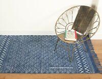 Indisch Indigo Hand Block Aufdruck Teppich 100% Baumwolle Groß Gewebt Fußmatte