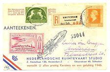 NETHERLANDS 1945-12  REG.  CARD=  RAKET POST = ROCKET MAIL= SPEC LABEL  VF