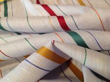 Feiner Naturfaser Leinen-Baumwoll-Stoff mit Glanz Satinstreifen NEU 200 x 150 cm