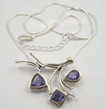 .925 Solid Silver FACETED IOLITE LADIES' EXTRA ORDINARY Necklace 18.5 Inches NEW