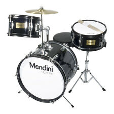 "MENDINI 16"" JUNIOR KID CHILD DRUM SET KIT W/ THRONE ~ METALLIC BLACK"