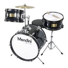 """MENDINI 16"""" JUNIOR KID CHILD DRUM SET KIT W/ THRONE ~ METALLIC BLACK"""