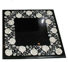 Mother of Pearl Stone Inlaid Marble Sofa Side Table Top Black End Table 20 Inch