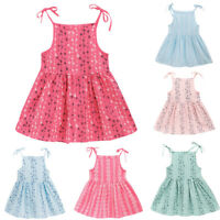 Toddler Kid Baby Girl Solid Flower Sundress Striped Princess Party Dress Clothes