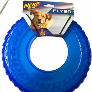 Rubber Tire Flyer Dog Toy Frisbee Lightweight Durable Floats in Water Blue NEW
