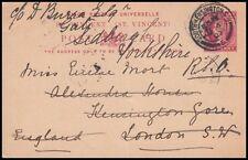 St. Vincent 1901 Qv 1d. Postcard To London (Id:599/D35093)