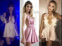 Women Frill Silky Playsuit Lady Backless party Mini Dress Satin Shorts Romper UK