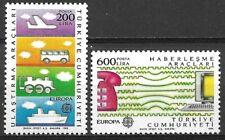 Turquia 1988 Yvert nº 2557/58 Tema Europa CEPT Transportes y Comunicaciones