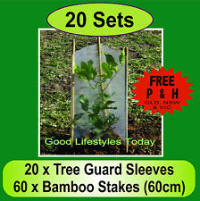 20 x Tree & Plant Guard Protection Sets with 60cm Bamboo Stakes. Protection Plus