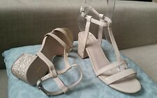 ♡♡♡$249 NEW MIMCO GUSTO MID HEEL IVORY  leather sandals glitter size 37 / 6.5