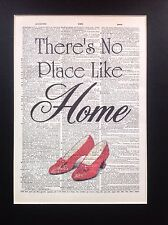Wizard Of Oz No Place Like Home Gift Idea Antique Dictionary Page Art #99