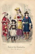"""98/ GRAVURE DE MODE """"  JOURNAL des DEMOISELLES """" 1882 SUPERBES COULEURS !"""