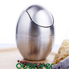 1.5L Stainless Steel Rubbish Bin Trash Kitchen Waste Garbage Can Egg Shape Home