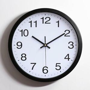 Wall Clock Black White Non Ticking Movement Sweep Quartz Kitchen Decorative Kids