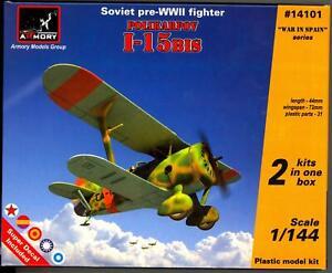 Armory Models 1/144 POLIKARPOV I-15 bis Russian Fighter 2-in-1 Kit!