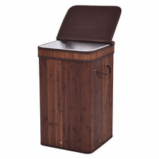 Square Bamboo Hamper Laundry Basket Washing Cloth Storage Bin Bag W/Lid