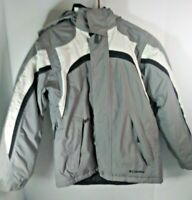 COLUMBIA SPORTSWEAR Omnitech Black/Gray Hooded Jacket Youth Size 10/12 Insulated