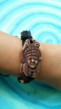 Native American bracelet Bear Chief leather BLESSED brown black bone tribal