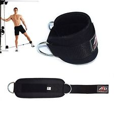 Gym Exercise Ankle Strap Weight Lifting Fitness D Ring Cable Attachment-Black