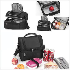 Insulated Lunch Bag Meal Prep Case Cooler Lunch Box Tote School PicnicWork Black