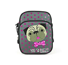 DAVID AND GOLIATH - MINI YOU SO PUGLY- MESSENGER/X BODY BAG - GREY/PINK