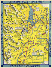 """11""""x14"""" Pictorial Map of the Jackson Hole country and Grand Teton National Park"""