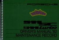 911 1982 PORSCHE OWNERS MANUAL 911SC HANDBOOK TURBO BOOK