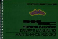 911 PORSCHE OWNERS MANUAL 1982 911SC HANDBOOK TURBO BOOK