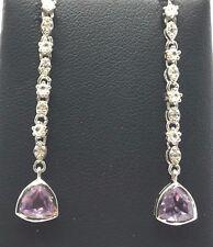 Sterling Silver 925 Trillion Purple Amethyst CZ Long Drop Dangle Post Earrings
