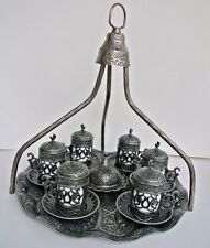 Dark Silver Turkish Coffee Set: Mugs,Delight Bowl,Tray Hanger Crescent Star