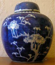 Antique Chinese Blue & White Porcelain Ginger Jar ~ Prunus Blossom