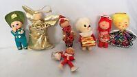 Lot Vintage Cotton Spun Head Christmas Ornaments Styrofoam Angel Soldier Elf