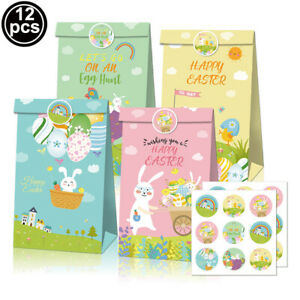 12 PCS Bunny Easter Eggs Candy Snack Packaging Bags Gift Stickers Easter Party