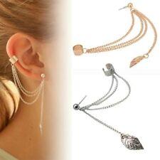 1 Feder Ohrklemme Ohrclip Ohrstecker Ear Cuff Kette Fake Ohrring Helix Indianer