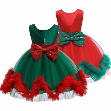 Little Girls Cute Dress Xmas Party Dress Girls Backless Dress With Big Bow