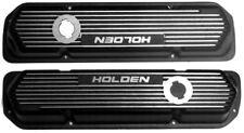 """""""Valve Covers Alloy Holden V8 253-308 Tall Black Finned-pr"""