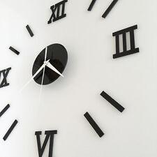 DIY Design Wanduhren Wohnuhr Uhrwerk Nummer Uhr Wall Clock 3D Wandtattoo SCHWARZ