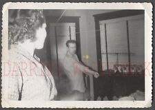 Unusual Vintage Photo Candid View of Pretty Girl & Man Rolling Up Sleeves 682528