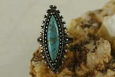 Vintage Jewelry Sterling Silver TURQUOISE Marquis Cab Southwestern Ring Size 6.5