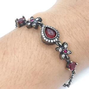 Deco 4.65ctw Ruby & Diamond Cut White Sapphire 14K Yellow Gold Silver Bracelet
