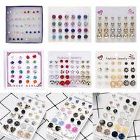 Wholesale Rhinestone Crystal Pearl Earrings Set Women Ear Stud Jewelry 12 Pairs