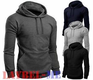 Men Pullover Plain Hoodies Fleece Sweatshirt Gym Casual Tops Hooded Size S - 2XL