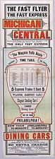 1882 Michigan Central Rail Timetable. 2 Sided Broadside. Niagara Falls Route.