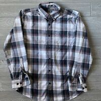 Eddie Bauer plaid flannel long sleeve Button Front Shirt Mens Size medium