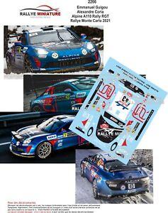 DECALS 1/18 REF 2266 ALPINE A110 RGT GUIGOU RALLYE MONTE CARLO 2021 WRC RALLY